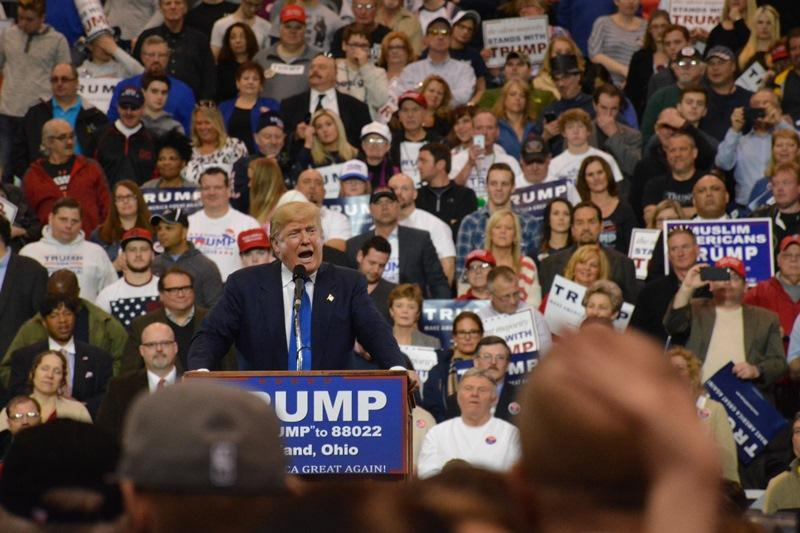 Donald Trump speaks at a rally in the I-X Center in Cleveland.