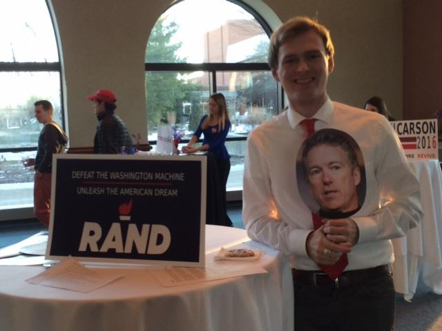 "OWU student Chris Dobeck is ""Sen. Rand Paul"" at the speed dating event."