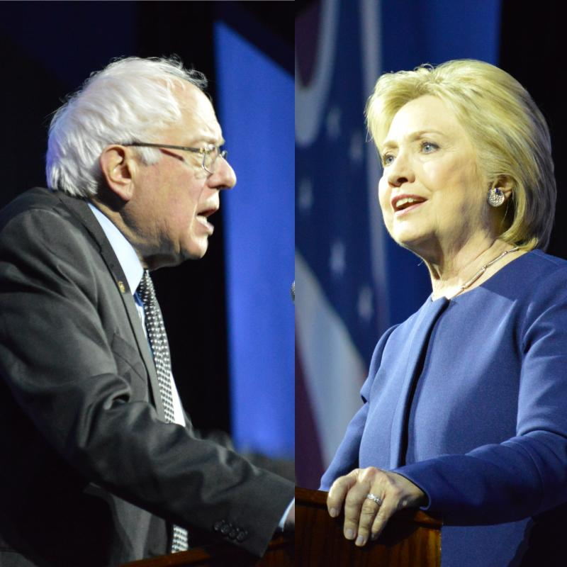 U.S. Sen. Bernie Sanders and Former Secretary of State Hillary Clinton speaking at the Ohio Democratic Party Legacy Dinner in the Greater Columbus Convention Center