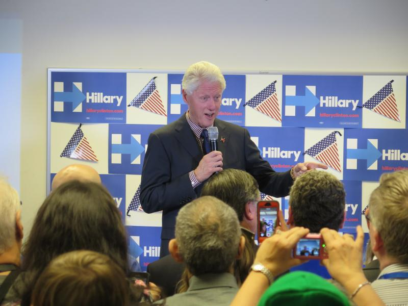 Former President Bill Clinton speaks to supporters at the Hillary For Ohio campaign headquarters in Columbus.