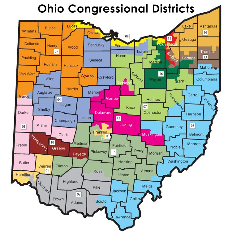 Map of Ohio's 16 Congressional Districts