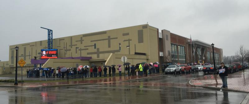 Hundreds stood in the rain outside the Northland Performing Arts Center in Columbus to see Ted Cruz.