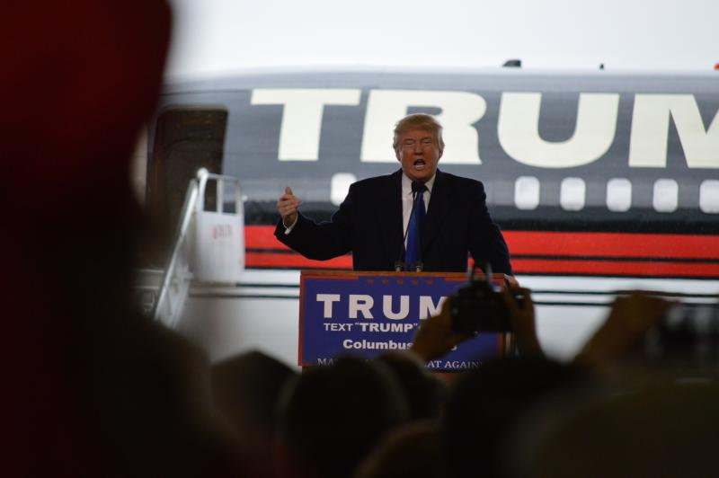 Donald Trump addresses rally inside a hangar at Port Columbus