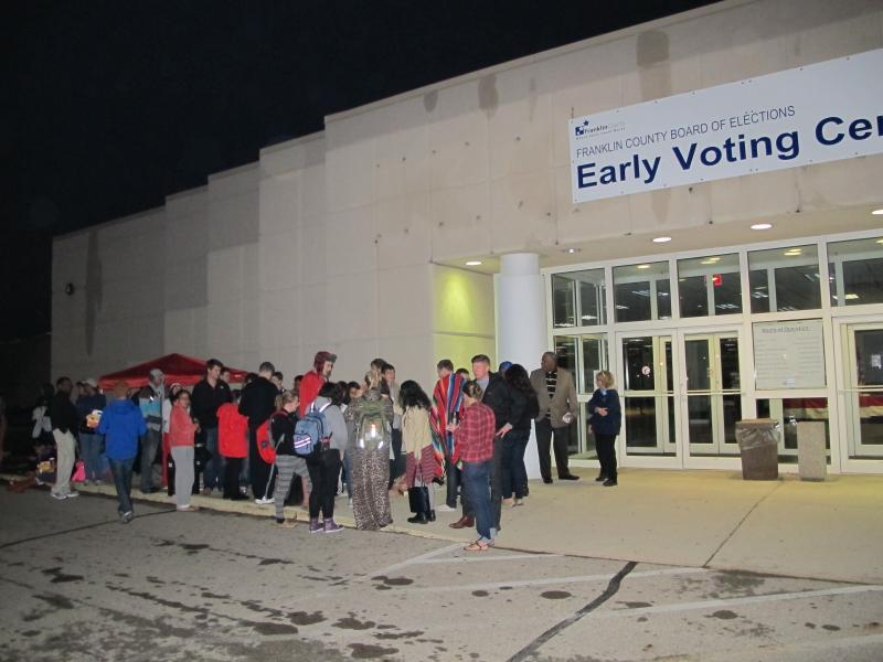 Ohio voters stand in line to cast ballots in Columbus in  2015