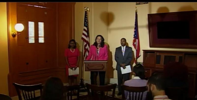 Representative Greta Johnson (speaking) at 2015 news conference, talking about taxes on feminine hygiene products