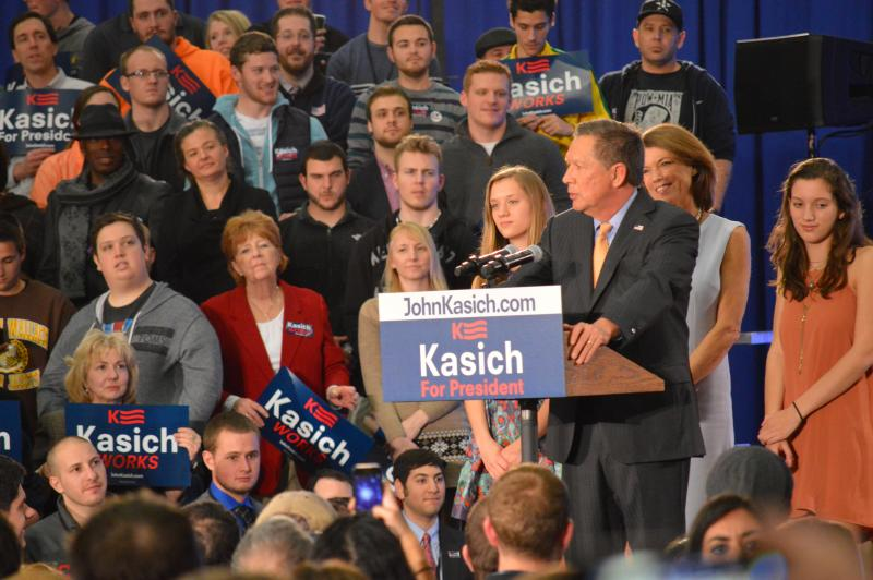 Governor Kasich celebrates his primary win in Cleveland