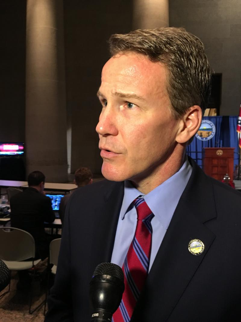Republican Secretary of State Jon Husted talked to reporters at the Statehouse on primary election night.