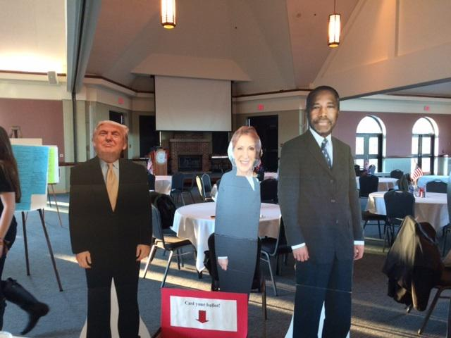 "Cardboard cut-outs of the candidates at the ""speed dating with the candidates"" event at Ohio Wesleyan University."