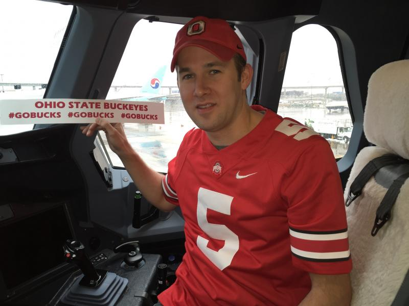 OSU alum Mark Heitz in the cockpit of a plane he took on the trip from Dubai to Dallas to watch the game.