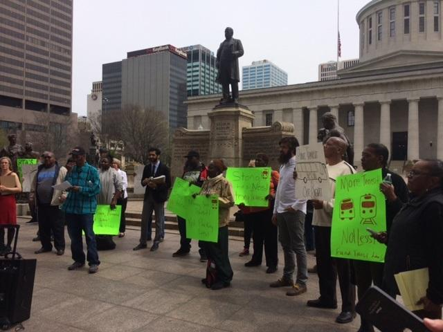 Protestors at Ohio Statehouse want more affordable public transportation