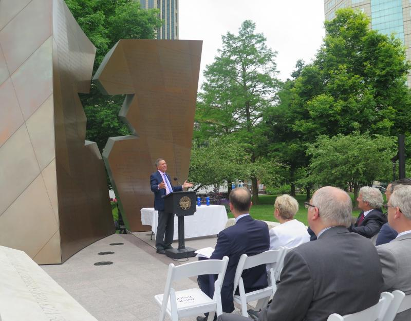 Gov. John Kasich speaks at the annual Holocaust commemoration on the Statehouse lawn.