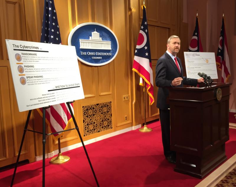 Auditor Dave Yost discusses cyber-attacks in the Harding Press Conference Room of the Ohio Statehouse