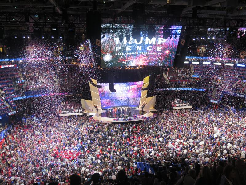 Balloons and confetti fall after Donald Trump's RNC acceptance speech