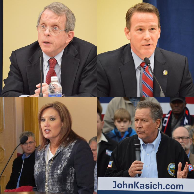 clockwise from top left: Attorney General Mike DeWine, Secretary of State Jon Husted, Lt. Gov. Mary Taylor, Gov. John Kasich