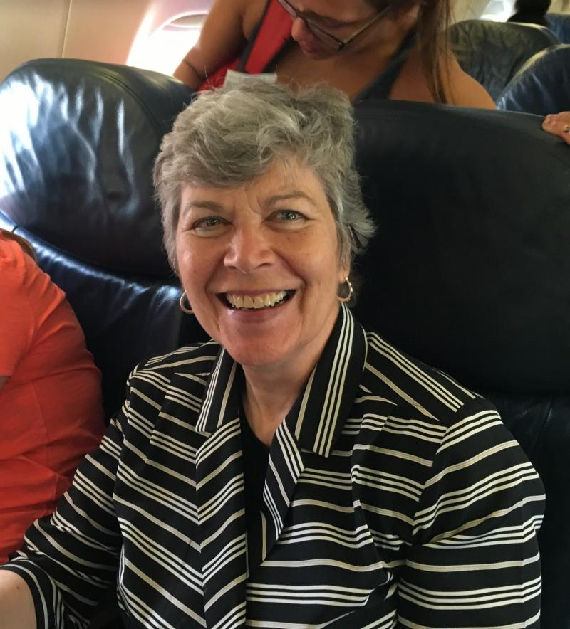 Former First Lady Frances Strickland on the plane to Philadelphia for the DNC