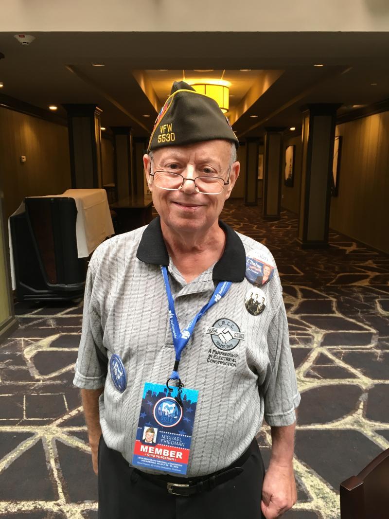 Michael Friedman of Toledo is attending his third DNC.