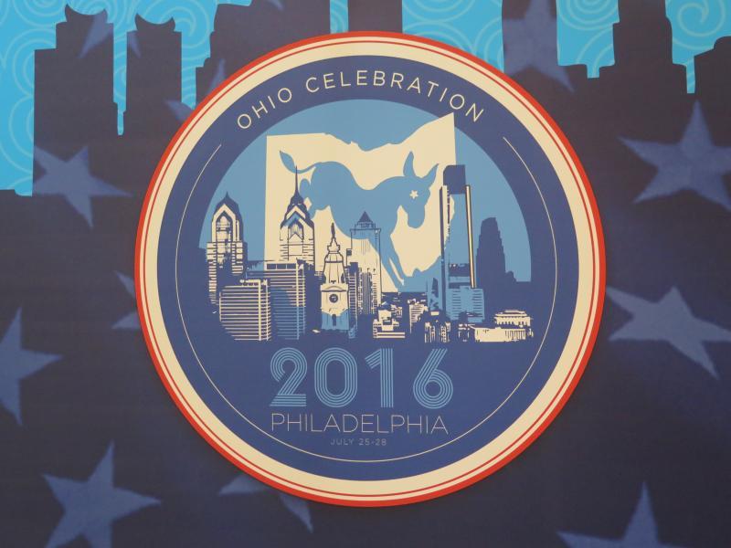 Ohio Delegation logo at the official delegation hotel in Philadelphia.