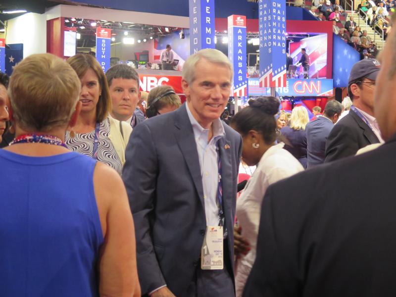 U.S. Sen. Rob Portman (R-OH) visits the Ohio delegation on the floor of the RNC.