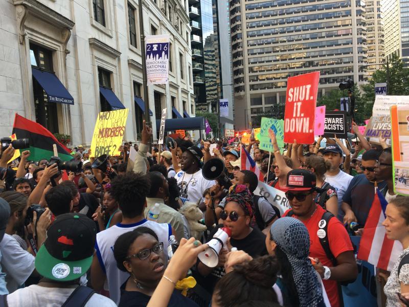 Protestors shut down the streets around Philadelphia City Hall.