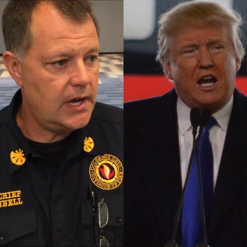 Columbus Assistant Fire Chief Jim Cannell and Republican Donald Trump