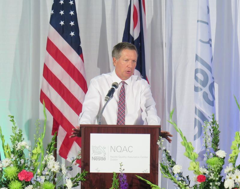 Gov. John Kasich speaks at celebration of expansion of Nestle facility in Dublin.