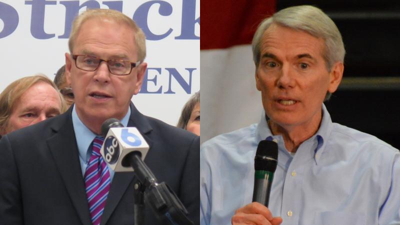 Democratic former Gov. Ted Strickland (left) and U.S. Sen. Rob Portman (R-OH)