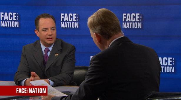 "RNC Chair Reince Preibus talks with moderator John Dickerson on CBS' ""Face the Nation""."