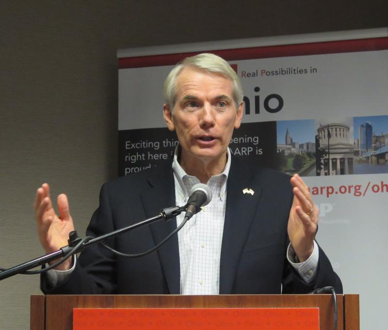 U.S. Sen. Rob Portman (R-OH) speaks at an AARP event in Columbus Thursday.