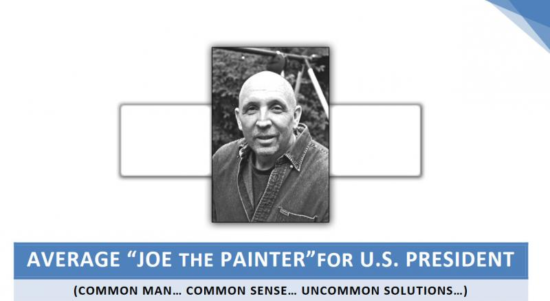 Write-in candidate Joe Schriner is a house painter from Bluffton.