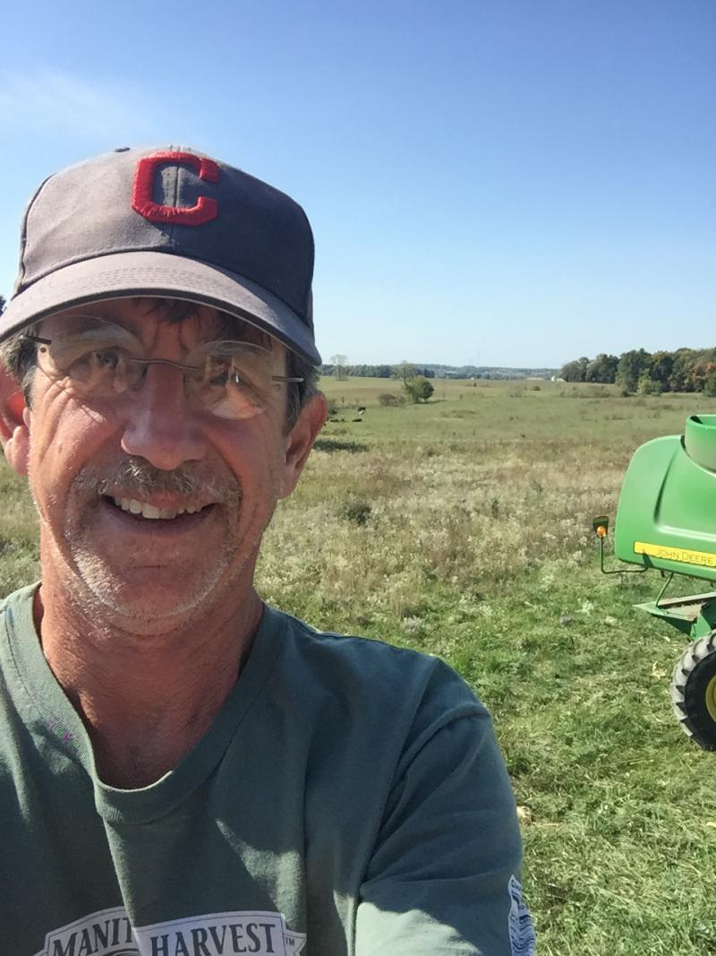 Dean McIlvaine on his farm in Wayne County.