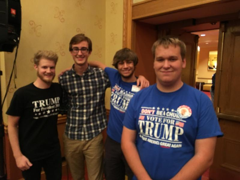Joe Bralley (front) and friends at the Trump event.
