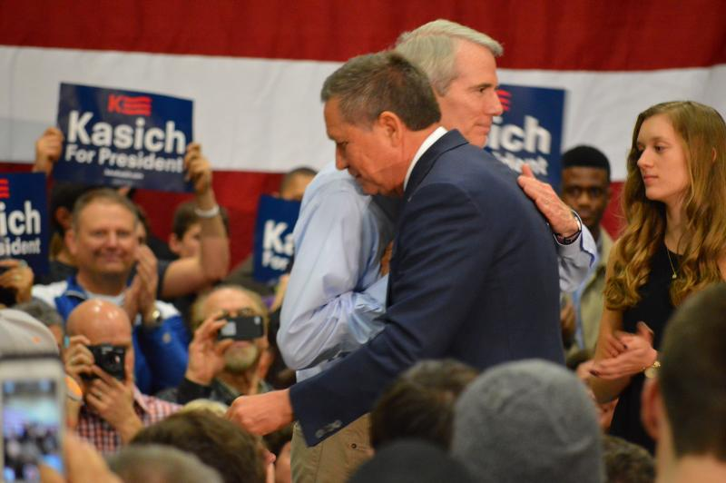 U.S. Sen. Rob Portman (R-Ohio) stumping for Gov. John Kasich in Westerville during his presidential run.