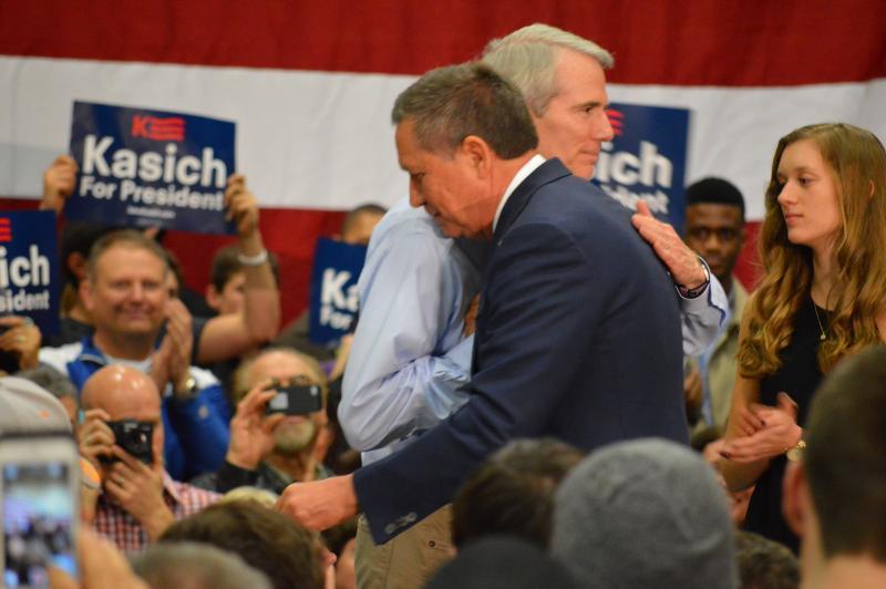 U.S. Sen. Rob Portman (R-Ohio) stumping for Gov. John Kasich in Westerville during his presidential run.