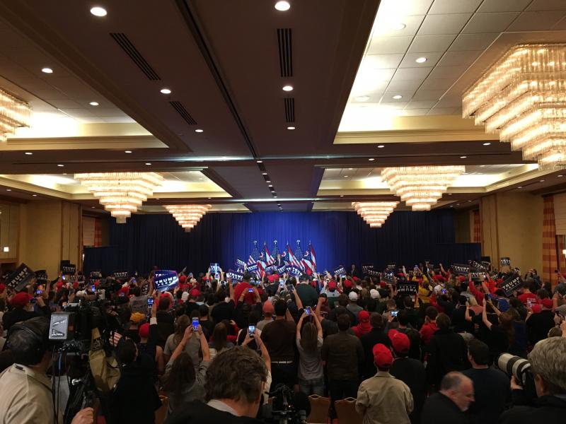 Donald Trump enters the mostly millennial event at the Renaissance hotel in Columbus.