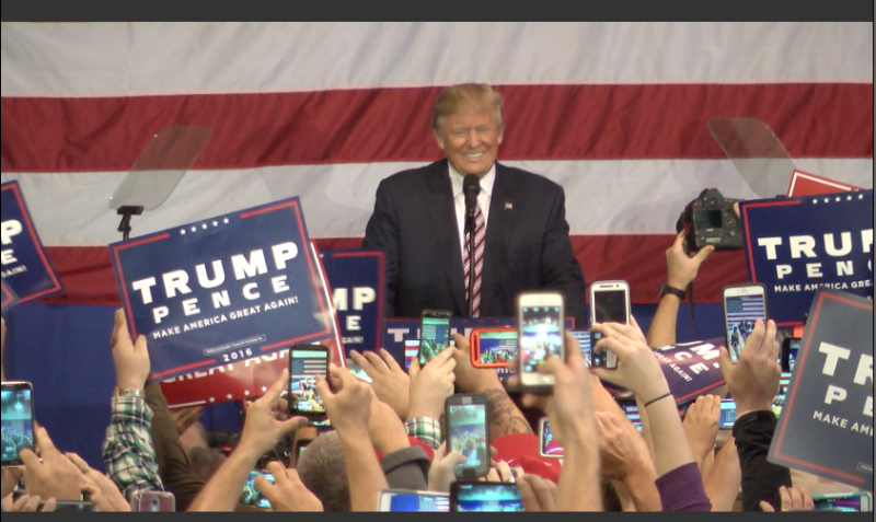 Republican Presidential Nominee Donald Trump tells crowd at the Delaware County Fairgrounds that he believes the election could be rigged in Hillary Clinton's favor.