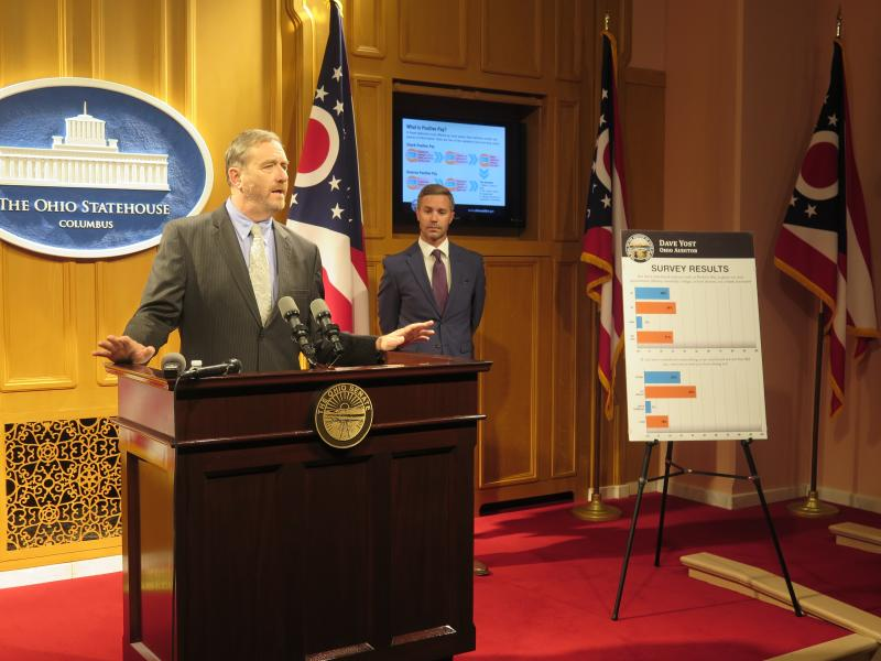 Auditor Dave Yost and Dustin Holfinger from the Ohio Bankers League talk about the survey of local government officials on anti-fraud measures.