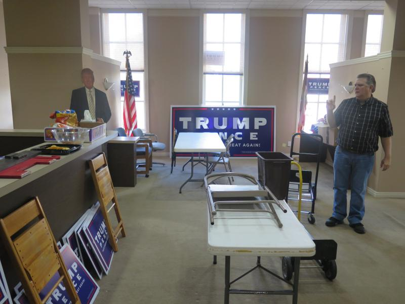 Randy Law looks around the Trumbull County Republican Party's temporary office on moving day.