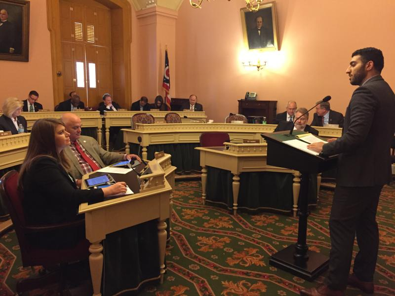 Ray Fakhoury, Advanced Energy Economy, testifies against bill that loosens yearly renewable energy requirements on utilities.