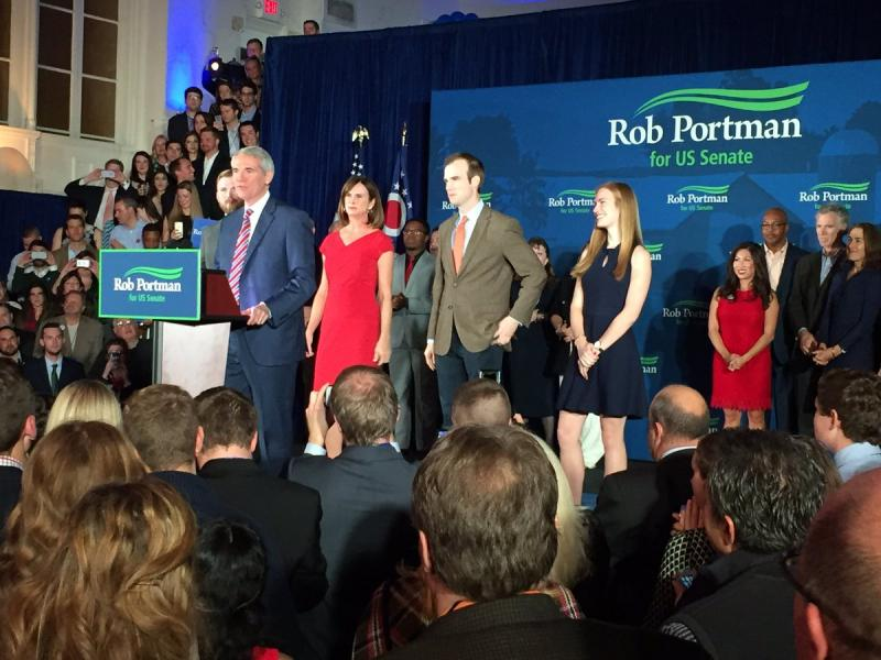 U.S. Sen. Rob Portman (R-OH) delivers his acceptance speech with his family behind him.