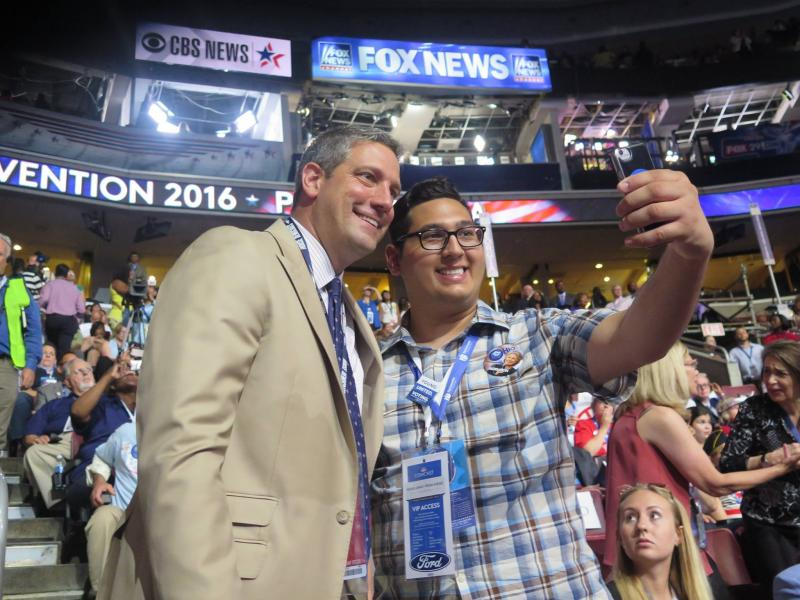 U.S. Rep. Tim Ryan (D-OH) takes a selfie with an Ohio fan at the Democratic National Convention in Philadelphia in July.