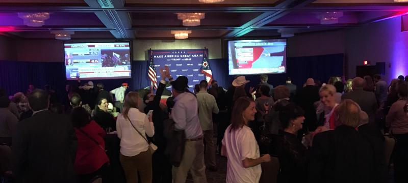 Supporters of Donald Trump anxiously await election results during watch party.
