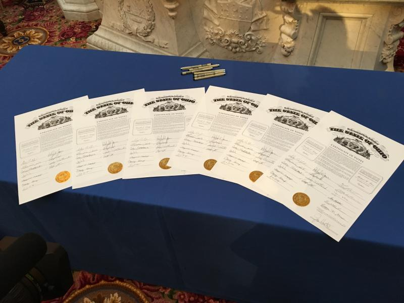 Certificates of votes signed by Ohio's 18 electors.