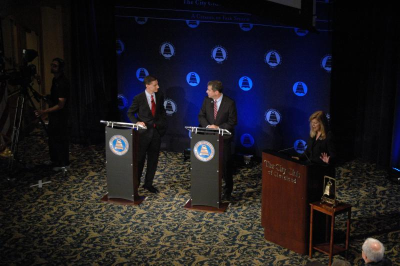Treasurer Josh Mandel and U.S. Sen. Sherrod Brown squared off in a debate before the City Club of Cleveland in 2012.
