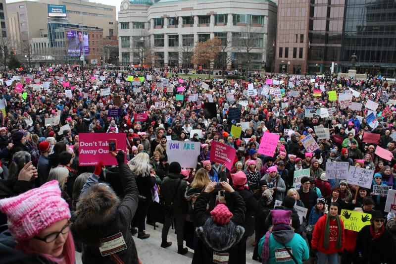 Signs and pink hats were clearly visible in the crowd at the Statehouse.
