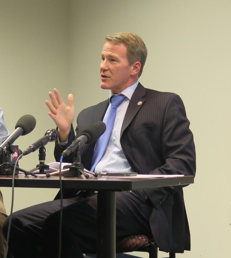 Secretary of State Jon Husted talks to reporters the night before the November 2016 election.