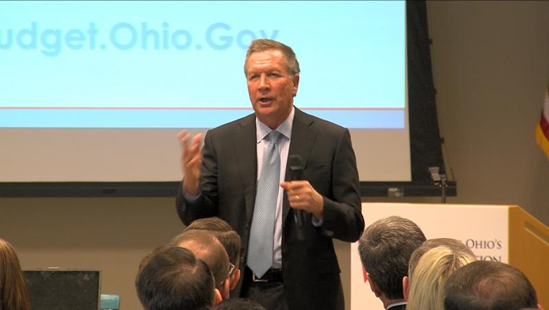 Gov. John Kasich presents budget plan which includes sales tax increase and more income tax cuts.