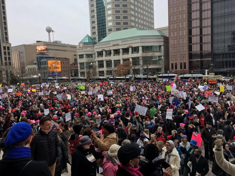 An estimated two thousand people participated in the Women's Sister March in downtown Columbus.