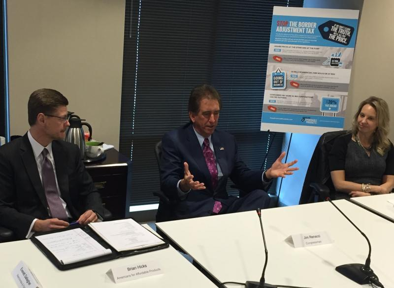 U.S. Rep. Jim Renacci (R-Wadsworth) sits in on roundtable discussion with Ohio businesses about tax reform.