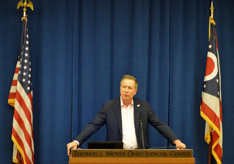 Gov. John Kasich speaking at the 2017 AP Legislative Forum inside the Thomas J. Moyer Ohio Judicial Center in Columbus.
