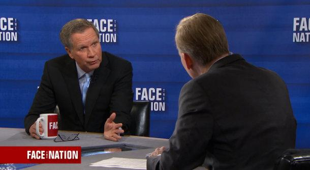 "Gov. John Kasich talks with moderator John Dickerson on CBS' ""Face the Nation"" on February 26, 2017."